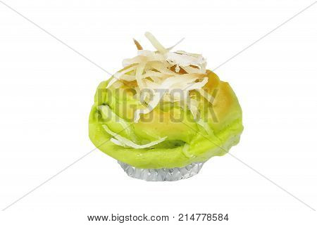 Baked thai Coconut Bread bake isolated on white background clipping path included.