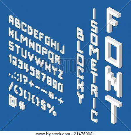 Blocky Isometric White Font