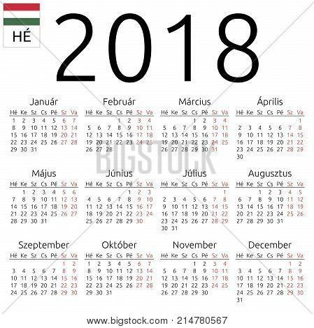 Calendar 2018, Hungarian, Monday