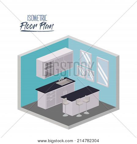 isometric floor plan of kitchen with worktop and cabinet in colorful silhouette vector illustration