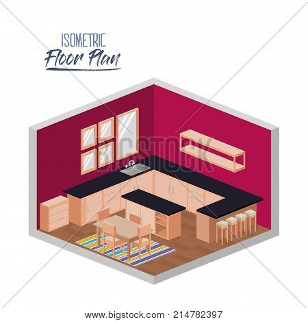 isometric floor plan of kitchen with big worktop and dining room with carpet in colorful silhouette vector illustration