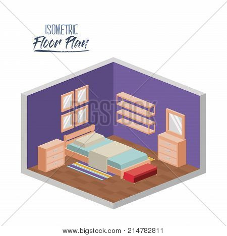 isometric floor plan of bedroom single bed in colorful silhouette vector illustration