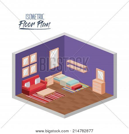 isometric floor plan of bedroom single bed and couch in colorful silhouette vector illustration