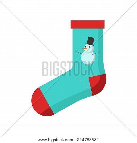 Bue Red Snowman Sock