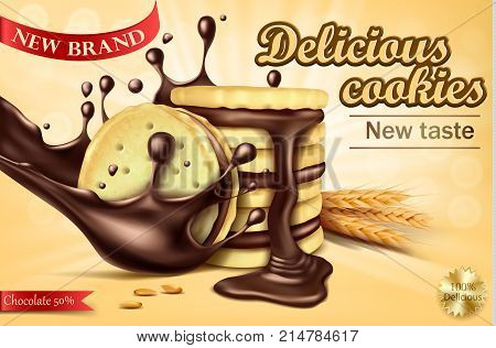 Mock up packaging, ad for chocolate sandwich cookies, realistic vector illustration. Whole wheat cookies with filling, pouring melted chocolate and lying wheat ears, sweet crispy cookies