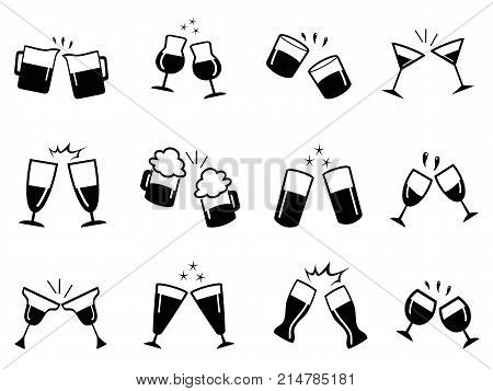 isolated glasses clinking icons set from white background