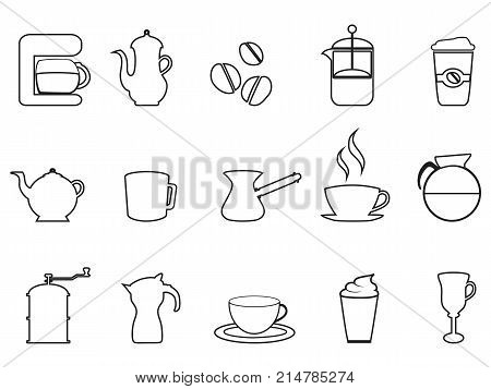 isolated coffee linear icon set from white background