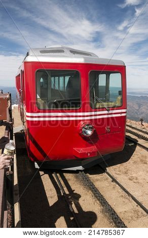 Manitou Springs CO/USA - September 7 2016 - The Number 16 train of the Pikes Peak Cog Railway at the top of Pikes Peak in Colorado.