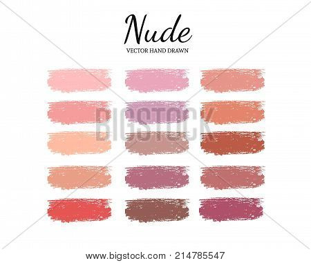 Set of various lipstick smears. Nude palette. Makeup swatches.