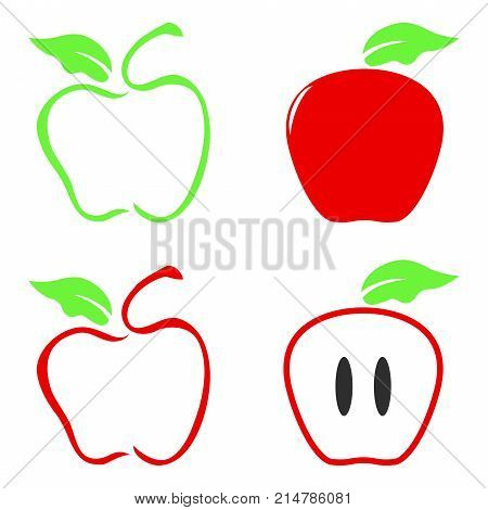 isolated color apple icon on white background