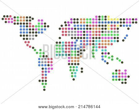isolated color dots earth on white background