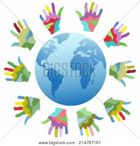 isolated painting color hands around the world from white backgronud