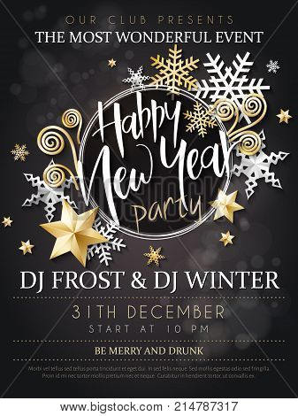Vector illustration of new year party poster with hand lettering label - happy new year - with stars, sparkles, snowflakes and swirls.