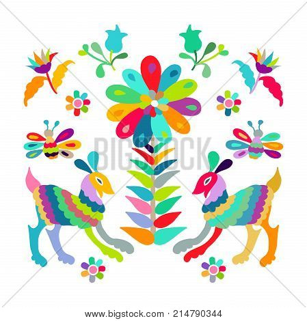 Vector folk Mexican Otomi embroidery Pattern eps 10