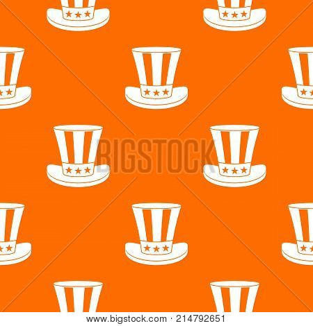 American hat pattern repeat seamless in orange color for any design. Vector geometric illustration