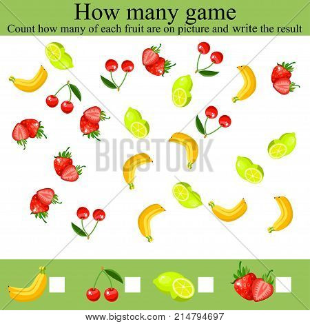 Learning mathematics, numbers. Mathematics task, worksheet. Counting Game for Preschool Children. Tasks for counting for preschool kids, children. how many objcets game