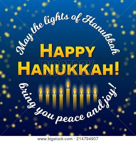 Happy hanukkah greeting card vector photo bigstock happy hanukkah greeting card lights on dark background hanukkah party poster template or banner for m4hsunfo