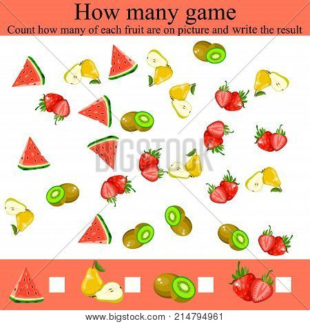 Learning mathematics, numbers. Mathematics task, worksheet. Tasks for counting for preschool kids, children. how many objcets game. Counting Game for Preschool Children.