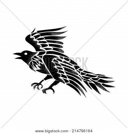 Tattoo style illustration of a raven, crow or blackbird viewed from side flying in black and white on isolated background.