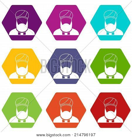 Muslim preacher icon set many color hexahedron isolated on white vector illustration