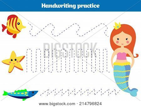 Color By Number, Education Game For Children. Coloring Page, Drawing Kids Activity Mermaid Design. T