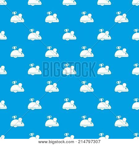 Clockwork mouse pattern repeat seamless in blue color for any design. Vector geometric illustration