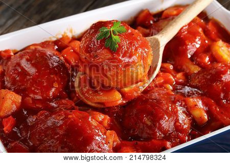 Meatball On Wooden Spoon, Top View