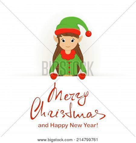 Cute elf behind a white banner with lettering Merry Christmas and Happy New Year, illustration.