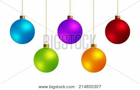 Set of Decorative Design Elements Christmas Balls Isolated on White Background. Kit of Green Yellow Red Blue Violet New Year Baubles.