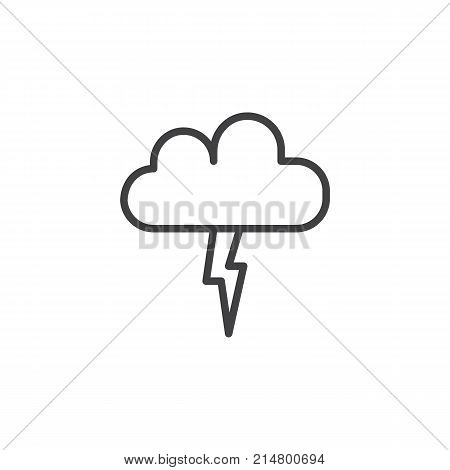 Lightning, thunderstorm cloud line icon, outline vector sign, linear style pictogram isolated on white. Cloud with light flash symbol, logo illustration. Editable stroke