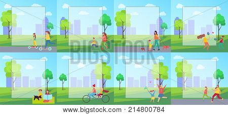 People doing sports and big filling form in the centerpiece above icon of persons, cityscape with buildings, trees and clouds on vector illustration