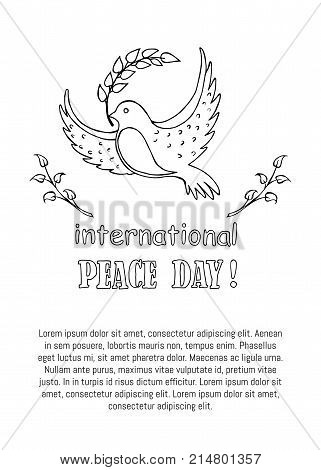 International peace day colorless vector illustration with dove holding twig in beak poster with text. Pigeon as symbol of harmony and love isolated