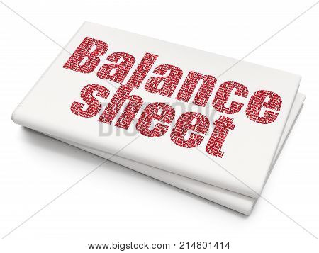 Currency concept: Pixelated red text Balance Sheet on Blank Newspaper background, 3D rendering