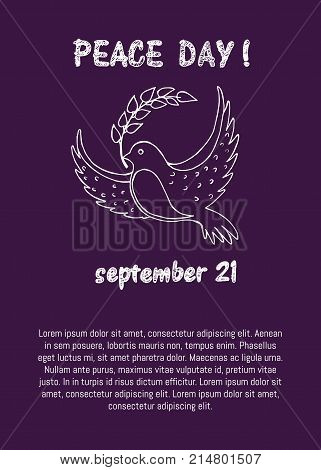 Dove of peace is holding twig in beak vector illustration isolated on purple background. Pigeon as symbol of harmony and love poster with text