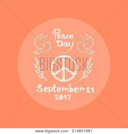 Peace Day September 21 2017 logo vector illustration. Hippie emblem surrounded by doves and spikelets from both left and right sides on orange background