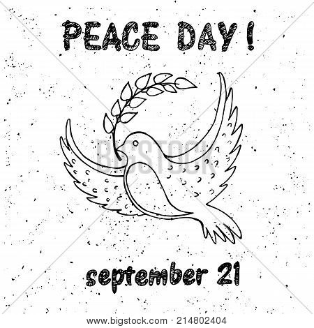 Peace Day symbol pigeon with olive branch in beak. Vector illustration isolated on white background. Dove with a twig in concept of harmony and love