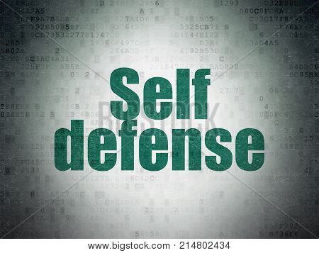 Security concept: Painted green word Self Defense on Digital Data Paper background