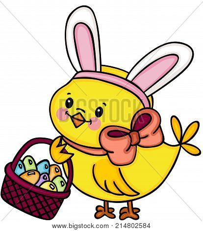 Scalable vectorial image representing a chick with bunny ears holding basket with easter eggs, isolated on white.