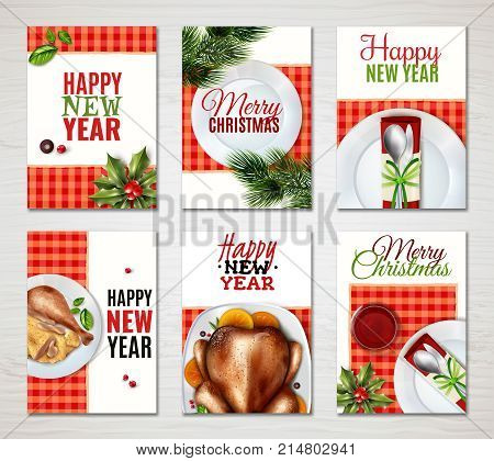 Six colored vertical realistic turkey christmas banner set with happy new year and merry Christmas descriptions vector illustration