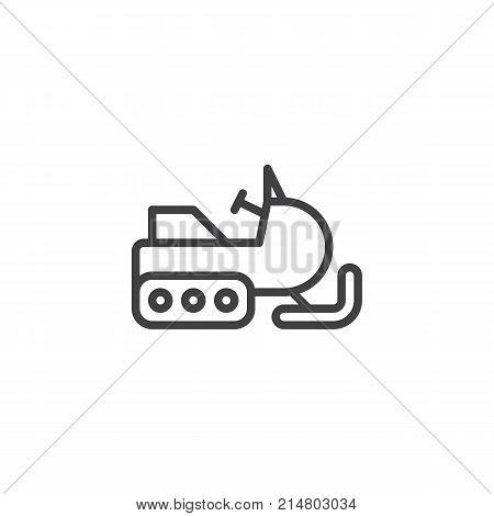 Snowmobile line icon, outline vector sign, linear style pictogram isolated on white. Snow sledge ski bike symbol, logo illustration. Editable stroke