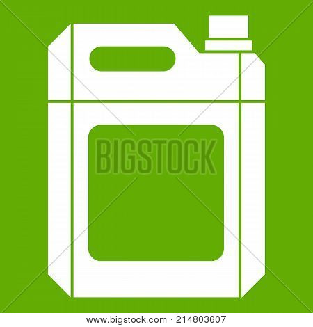 Plastic jerry can icon white isolated on green background. Vector illustration