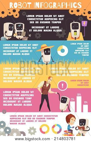 Artificial intelligence infographic cartoon poster with information on autonomic robotic systems role in human life vector illustration
