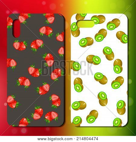 Sweet juicy whole and slice strawberry and kiwi on back side of smarphone. telephone cover design. Best choice for smartphone case or cover design