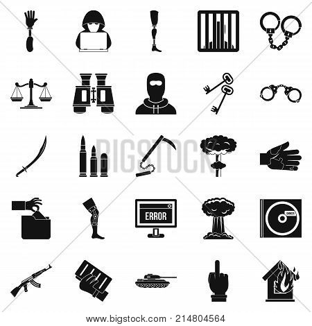 Infringement icons set. Simple set of 25 infringement vector icons for web isolated on white background