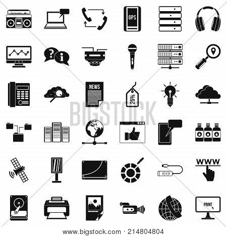 News icons set. Simple style of 36 news vector icons for web isolated on white background