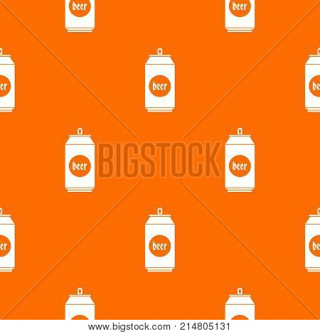 Beer in aluminum cans pattern repeat seamless in orange color for any design. Vector geometric illustration