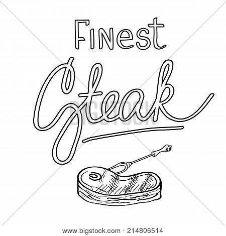 Typographical grill party design concept with calligraphic stylish inscription Finest Steak and roasted meat isolated vector illustration
