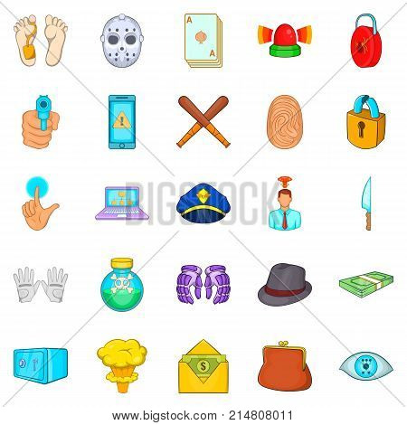 Crime icons set. Cartoon set of 25 crime vector icons for web isolated on white background