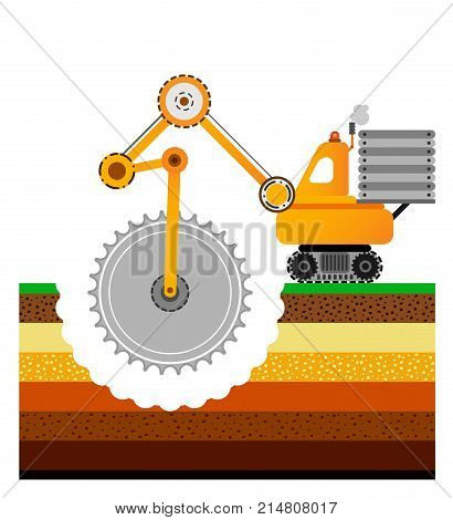 Yellow bulldozer is digging the earth. Mining industry. Schematic flat illustration. Layers of the earth