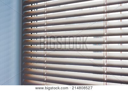 Sunlight Coming Through Venetian Blinds By The Window .
